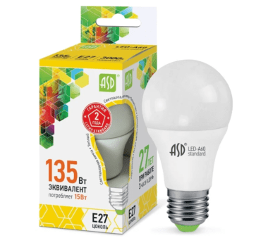 ASD LED-STD 3000K, E27, A60, 15Вт