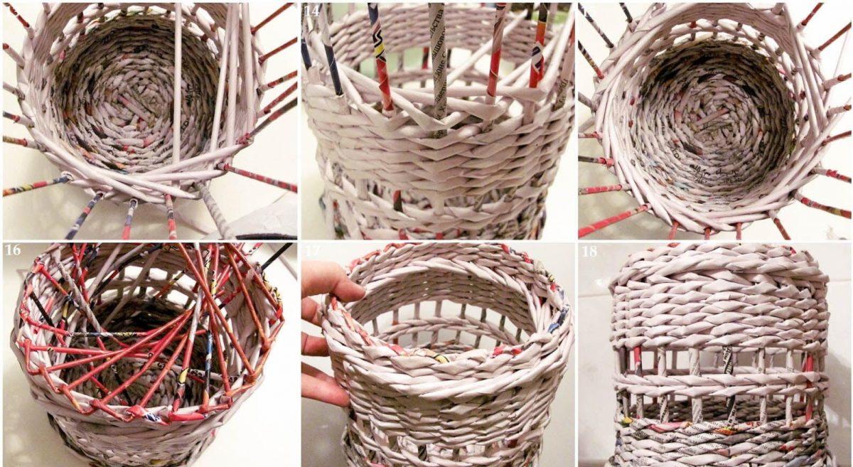 Фото как сделать корзину из газет